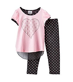 Beautees Girls' 4-6X Pink Heart Dot Top And Leggings Set
