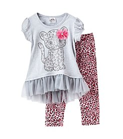 Beautees Girls' 4-6X Leopard Kitty Top And Leggings Set