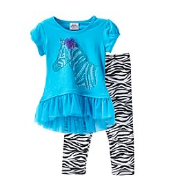 Beautees Girls' 4-6X Zebra Peplum Top And Leggings Set