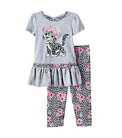 Beautees Girls' 2T-6X Leopard Kitty Peplum And Leggings Set