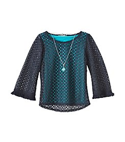 Speechless® Girls' 7-16 Layered Openwork Top And Tank