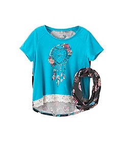 Miss Attitude Girls' 7-16 Hi-Lo Tee With Scarf
