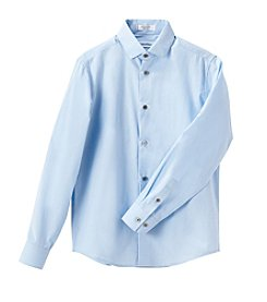 Calvin Klein Boys' 2T-7 Long Sleeve Button Down Shirt
