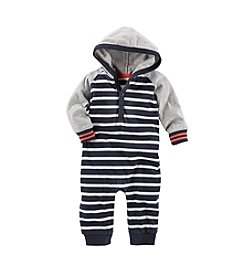 OshKosh B'Gosh® Baby Boys' 3-24M Striped Hooded Coveralls