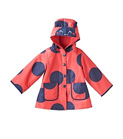 London Fog® Baby Girls' Ladybug Dot Raincoat