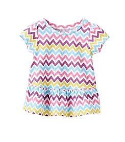 Mix & Match Baby Girls' 12-24 Month Chevron Peplum Tee