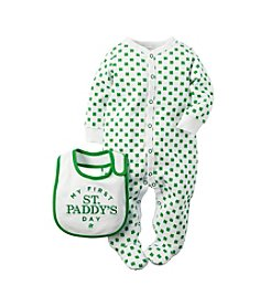Carter's® Baby Girls' 2-Piece Shamrock Footies With Bib