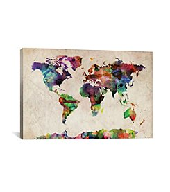 iCanvas World Map Urba Watercolor II by Michael Tompsett Canvas Print