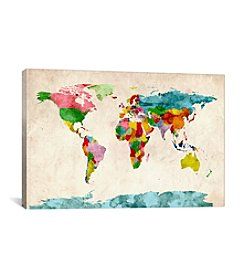 iCanvas World Map Watercolors III by Michael Tompsett Canvas Print