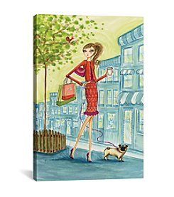 iCanvas Shop the City Shopping With Doggie by Bella Pilar Canvas Print