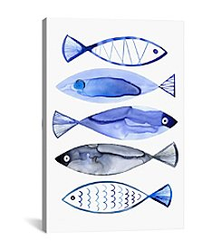 iCanvas Retro Watercolor Fish by Margaret Berg Canvas Print