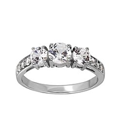 Fine Jewelry White Sapphire Ring In 10k White Gold