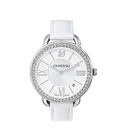 Swarovski® Women's Aila Day Watch with White Leather Strap