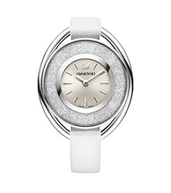 Swarovski® Women's Silvertone Crystalline Oval White Watch