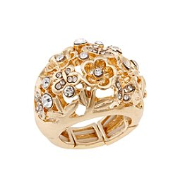 Erica Lyons® Goldtone Glamorous Flower Cluster Stretch Ring