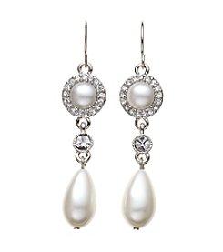 Lauren Ralph Lauren® Silvertone Pave Pearl Linear Earrings