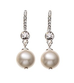 Lauren Ralph Lauren® Silvertone Small Crystal Pearl Drop Earrings