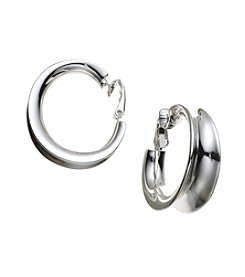 Lauren Ralph Lauren® Silvertone Concave Clip Hoop Earrings