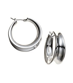 Lauren Ralph Lauren® Silvertone Concave Click It Hoop Earrings
