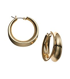 Lauren Ralph Lauren® Goldtone Concave Click It Hoop Earrings