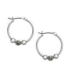 Lauren Ralph Lauren Silvertone Small Click-it Hoop Earrings with Center Beads