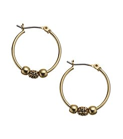 Lauren Ralph Lauren Goldtone Small Click It Hoop Earrings with Center Beads