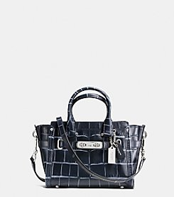COACH SWAGGER 20 SATCHEL IN DENIM CROC-EMBOSSED LEATHER