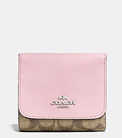 COACH SMALL WALLET IN COLORBLOCK SIGNATURE COATED CANVAS
