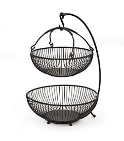 Gourmet Basics by Mikasa Sprindle 2-Tier Basket with Banana Hook