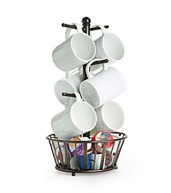 Gourmet Basics by Mikasa Band and Stripe 6-Mug Tree with Bottom Basket
