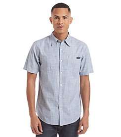 Ocean Current® Men's Avenella Crosshatch Solid Short Sleeve Woven Button Down Shirt