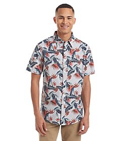 Ocean Current® Men's Pigment Crosshatch Floral Short Sleeve Woven Button Down Shirt