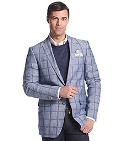 Tallia Orange Men's Plaid Linen Sport Coat