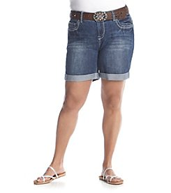 Wallflower® Plus Size Belted Mid Rise Shorts