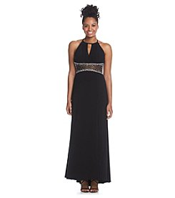 Morgan & Co.® Illusion Beaded Waist Dress