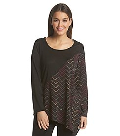 Notations® Printed Asymmetrical Knit Top