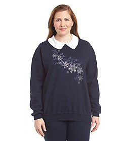 Morning Sun® Plus Size Snow Crystals Fleece Sweatshirt