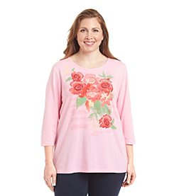 Breckenridge Plus Size Crew Neck Embellished Tee