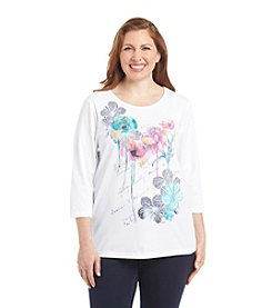 Breckenridge® Plus Size Crew Neck Embellished Tee