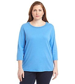 Breckenridge® Plus Size Crew Neck Crochet Trim Tee