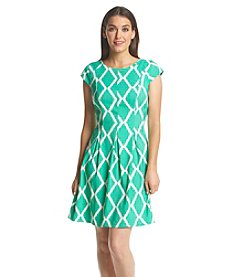 AGB® Trellis Patterned Fit And Flare Dress