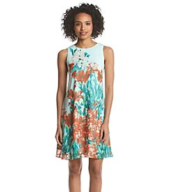 Julian Taylor Floral Chiffon Shift Dress