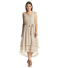 AGB® Belted Lace Dress