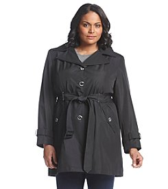 Calvin Klein Plus Size Belted Faux Silk Trench Coat