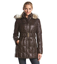 Laundry by Design Three-Quarter Belted Puffer Coat