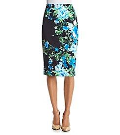 Bobeau Floral Print Scuba Skirt
