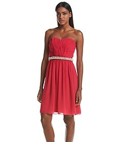 Calvin Klein Chiffon Strapless Dress With Belt
