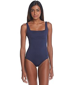 Calvin Klein Pleated Maillot Solid One Piece Swimsuit