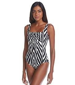 Calvin Klein Pleated Maillot One Piece Swimwsuit