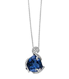 Effy® London Blue Topaz & .25ct. t.w. Diamond Pendant in 14K White Gold